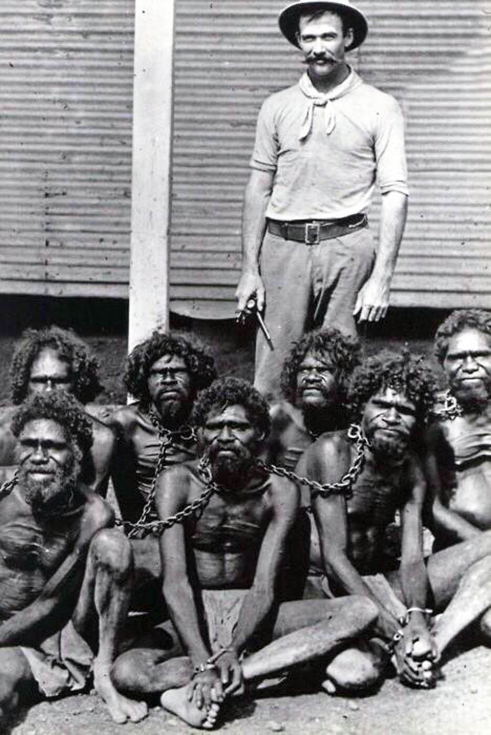 Australian Aborigines in chains at Wyndham prison, 1902
